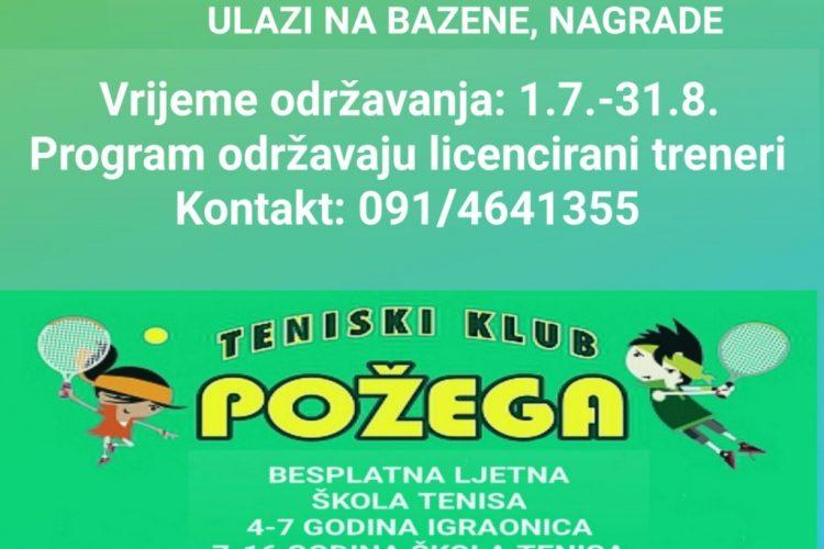 """ŠTK Požega organizira sportsko ljeto kroz program :""""Tenis je igra – Igraj tenis"""""""